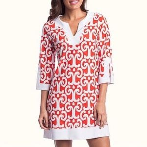 JUDE CONNALLY Split Neck Shift Long sleeve dress